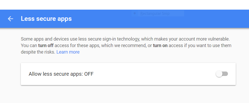 Screenshot of Gmail Less secure apps setting page